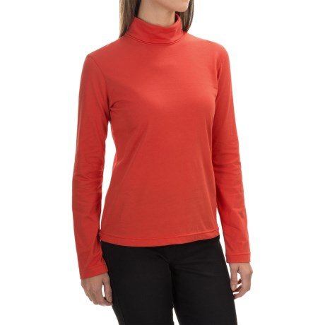 Neon Buddha Turtleneck - Stretch Cotton, Long Sleeve (For Women) in Vibrant Red