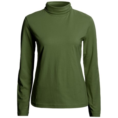 Neon Buddha Turtleneck - Stretch Cotton, Ruching Detail, Long Sleeve (For Women) in Earthly Green