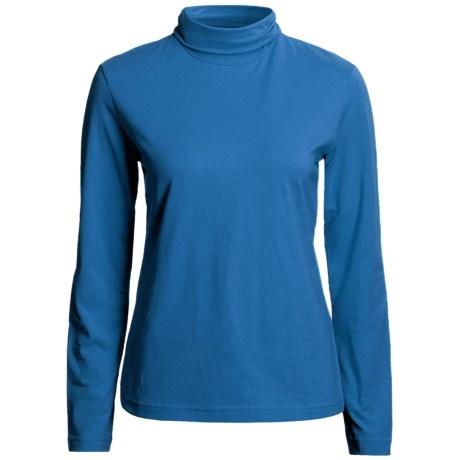 Neon Buddha Turtleneck - Stretch Cotton, Ruching Detail, Long Sleeve (For Women) in Electric Blue
