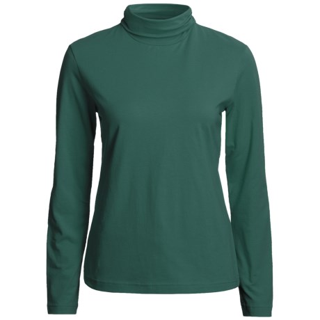 Neon Buddha Turtleneck - Stretch Cotton, Ruching Detail, Long Sleeve (For Women) in Lux Emerald