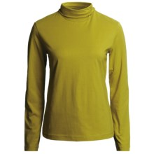 Neon Buddha Turtleneck - Stretch Cotton, Ruching Detail, Long Sleeve (For Women) in Olive - Closeouts