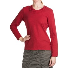 Neon Buddha Twist Neck Shirt - Cotton Slub, Long Sleeve (For Women) in Bold Red - Closeouts