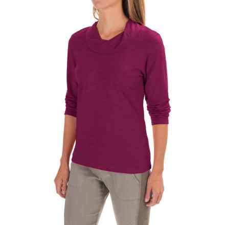 Neon Buddha Twist Neck Shirt - Cotton Slub, Long Sleeve (For Women) in Bordeaux Wine - Closeouts