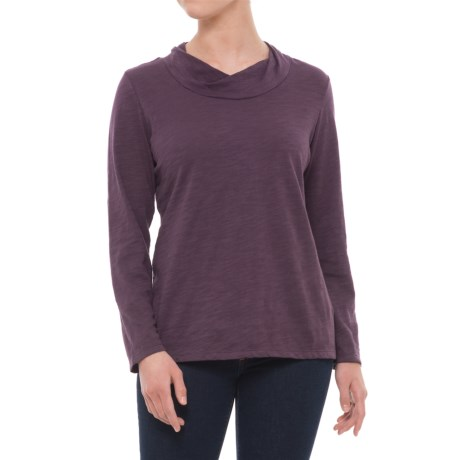 Neon Buddha Twist Neck Shirt - Cotton Slub, Long Sleeve (For Women) in Purple