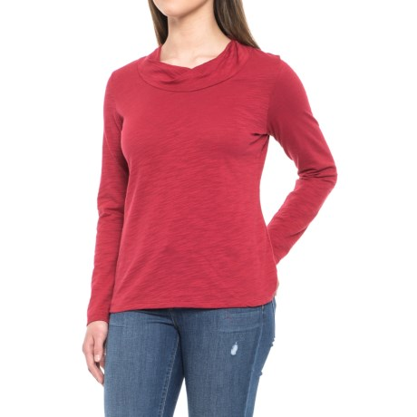 Neon Buddha Twist Neck Shirt - Cotton Slub, Long Sleeve (For Women) in Red Current