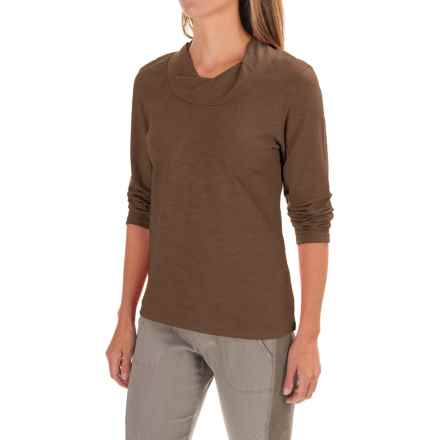 Neon Buddha Twist Neck Shirt - Cotton Slub, Long Sleeve (For Women) in Rich Wood - Closeouts