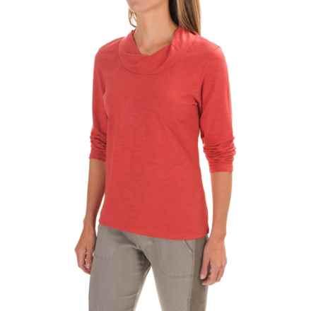 Neon Buddha Twist Neck Shirt - Cotton Slub, Long Sleeve (For Women) in Terracotta - Closeouts