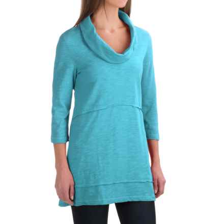Neon Buddha Under the Sun Tunic Shirt - Cowl Neck, 3/4 Sleeve (For Women) in Ice Water - Closeouts