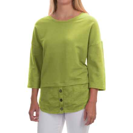 Neon Buddha Valley Fooler Tunic Shirt - Stretch Cotton, 3/4 Sleeve (For Women) in Lightning Lime - Closeouts
