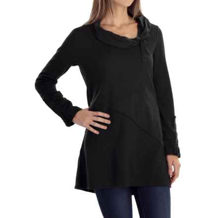 Neon Buddha Whimsical Waffle-Knit Tunic Shirt - Cowl Neck, Long Sleeve (For Women) in Black - Closeouts