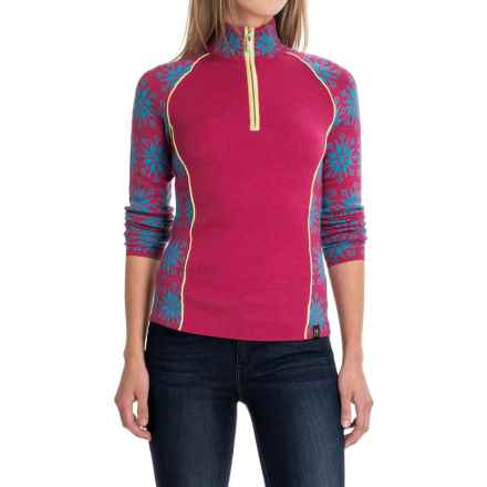 Neve Ali Snowflake Sweater - Merino Wool, Zip Neck (For Women) in Blossom - Closeouts