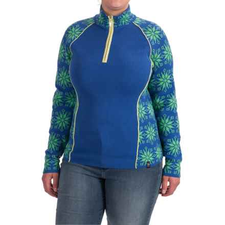 Neve Ali Snowflake Sweater - Merino Wool, Zip Neck (For Women) in Ocean - Closeouts