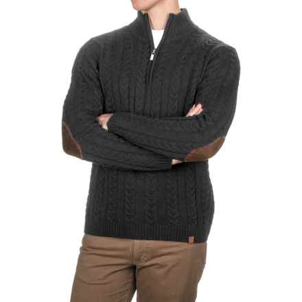 Neve Andrew Chunky Cable-Knit Sweater - Merino Wool, Zip Neck (For Men) in Black - Closeouts