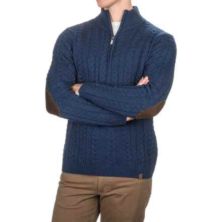 Neve Andrew Chunky Cable-Knit Sweater - Merino Wool, Zip Neck (For Men) in Navy - Closeouts