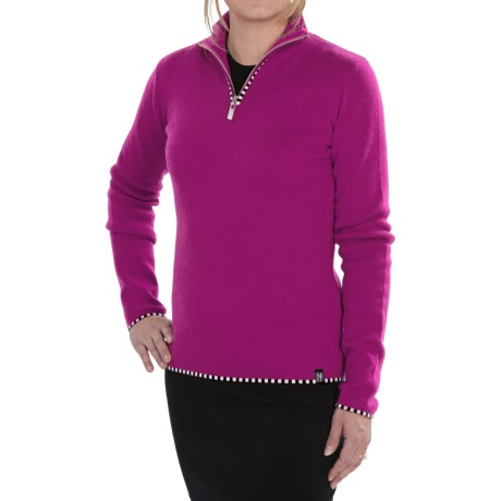 Neve Annabelle Sweater - Merino Wool, Zip Neck (For Women) in Orchid