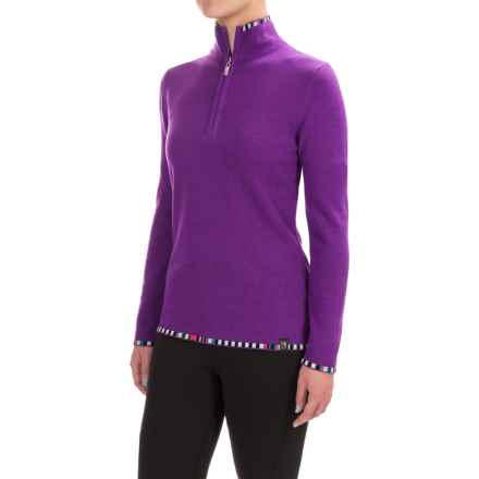 Neve Anne Multicolor-Trim Sweater - Merino Wool (For Women) in Purple - Closeouts