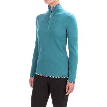 Neve Anne Multicolor-Trim Sweater - Merino Wool (For Women) in Turquoise - Closeouts