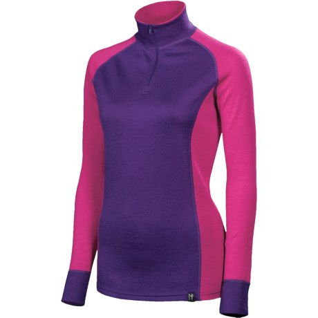 Neve Bivi Base Layer Top - Zip Neck, Long Sleeve (For Women) in Hot Pink