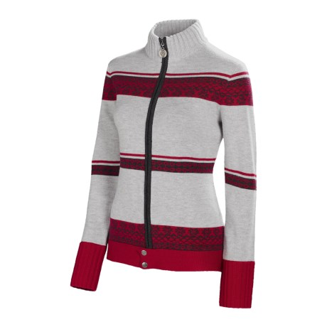 Neve Blanca Zip Sweater - Ultrafine Merino Wool (For Women) in Wine