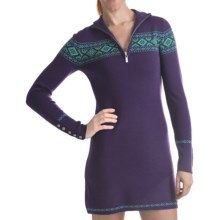 Neve Camilla Zip Neck Dress - Merino Wool, Long Sleeve (For Women) in Grape - Closeouts