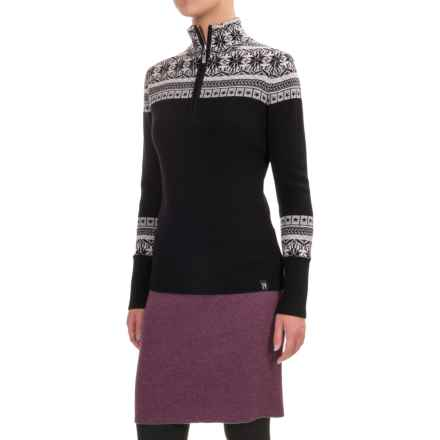 Neve Caroline Fair Isle Sweater - Merino Wool, Zip Neck (For Women) in Black - Closeouts