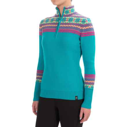 Neve Caroline Fair Isle Sweater - Merino Wool, Zip Neck (For Women) in Blossom - Closeouts