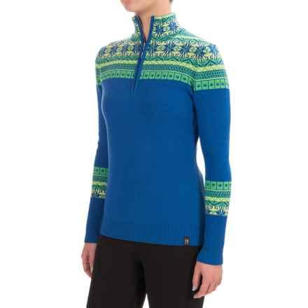 Neve Caroline Fair Isle Sweater - Merino Wool, Zip Neck (For Women) in Ocean - Closeouts