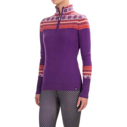 Neve Caroline Fair Isle Sweater - Merino Wool, Zip Neck (For Women) in Orangina - Closeouts