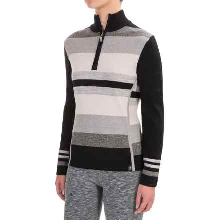 Neve Chloe Striped Sweater - Merino Wool, Zip Neck (For Women) in Black - Closeouts