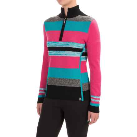 Neve Chloe Striped Sweater - Merino Wool, Zip Neck (For Women) in Blossom - Closeouts