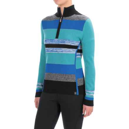Neve Chloe Striped Sweater - Merino Wool, Zip Neck (For Women) in Ocean - Closeouts