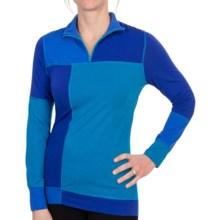 Neve Color-Block Shirt - Merino Wool-Silk, Zip Neck, Long Sleeve (For Women) in Glacier - Closeouts