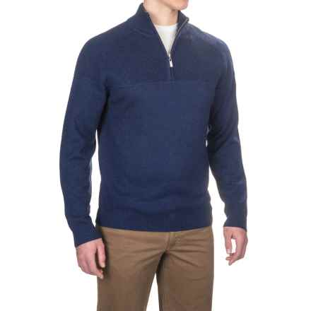 Neve Connor Classic Zip Neck Sweater - Merino Wool (For Men) in Navy - Closeouts