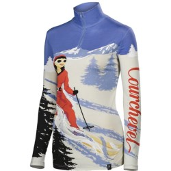 Neve Courchevel Base Layer Top - Silk-Merino Wool, Zip Neck, Long Sleeve (For Women) in 3062 Print