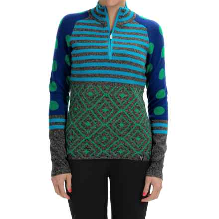 Neve Dotty Wool Sweater - Zip Neck (For Women) in Indigo - Closeouts