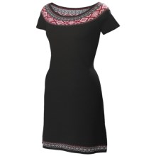 Neve Ella Boat Neck Dress - Ultrafine Merino Wool, Short Sleeve (For Women) in Black - Closeouts