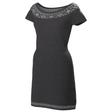 Neve Ella Boat Neck Dress - Ultrafine Merino Wool, Short Sleeve (For Women) in Charcoal - Closeouts