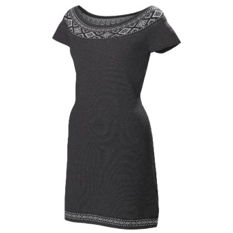 Neve Ella Boat Neck Dress - Ultrafine Merino Wool, Short Sleeve (For Women) in Charcoal