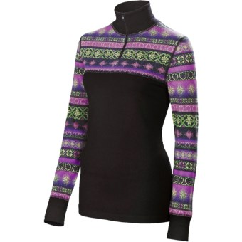 Neve Fair Isle Shirt - Zip Neck, Long Sleeve (For Women) in Black