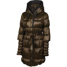 Neve Fiona Hooded Long Down Coat - 600 Fill Power (For Women) in Mushroom - Closeouts