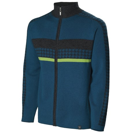 Neve Gabe Cardigan Sweater - Merino Wool (For Men) in Blue Spruce