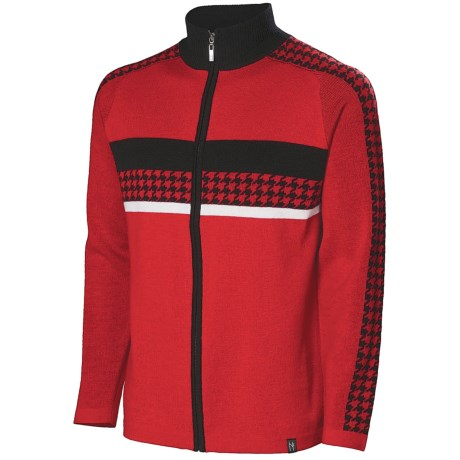 Neve Gabe Cardigan Sweater - Merino Wool (For Men) in Red