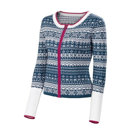 Neve Gabrielle Mini Fair Isle Cardigan Sweater - Merino Wool (For Women) in Blue Spruce
