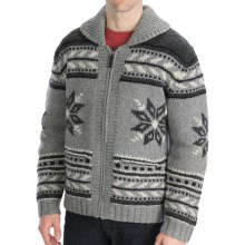Neve Glockner Hand-Knit Cardigan Sweater - Lambswool (For Men) in Charcoal - Closeouts