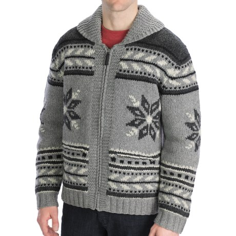 Neve Glockner Hand-Knit Cardigan Sweater - Lambswool (For Men) in Charcoal