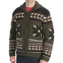 Neve Glockner Hand-Knit Cardigan Sweater - Lambswool (For Men) in Forest - Closeouts