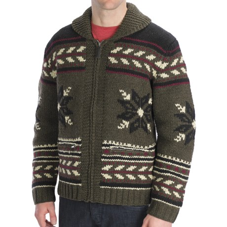 Neve Glockner Hand-Knit Cardigan Sweater - Lambswool (For Men) in Forest