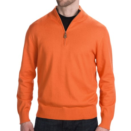 Neve Henry Sweater - Zip Neck (For Men) in Marigold