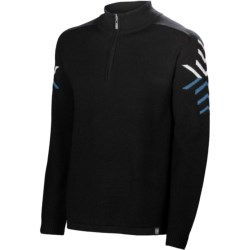 Neve Jack Sweater - Merino Wool, Zip Neck (For Men) in Black