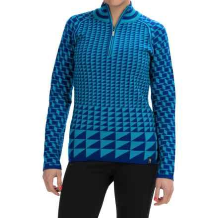 Neve Jo Merino Wool Sweater - Zip Neck (For Women) in Aquamarine - Closeouts